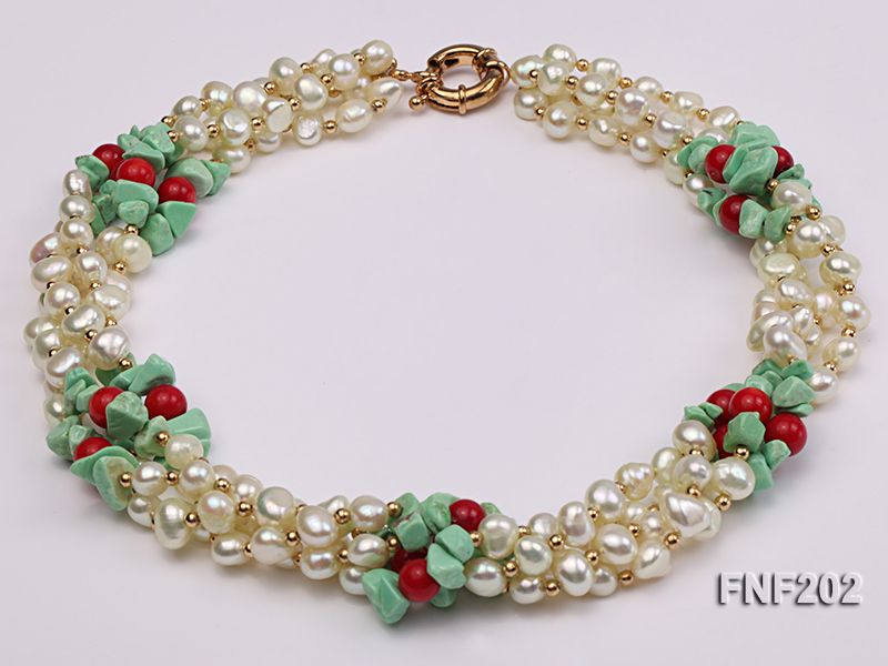 Four-strand 7-8mm White Freshwater Pearl Necklace with Turquoise Chips, Coral Beads and Golden Beads big Image 1
