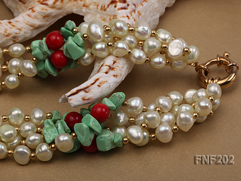Four-strand 7-8mm White Freshwater Pearl Necklace with Turquoise Chips, Coral Beads and Golden Beads big Image 4