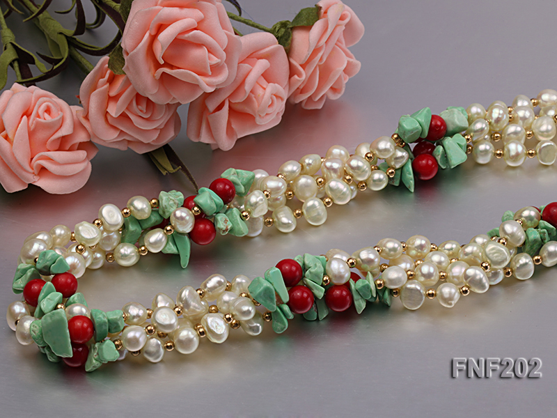 Four-strand 7-8mm White Freshwater Pearl Necklace with Turquoise Chips, Coral Beads and Golden Beads big Image 5