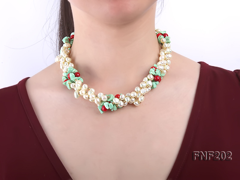 Four-strand 7-8mm White Freshwater Pearl Necklace with Turquoise Chips, Coral Beads and Golden Beads big Image 2