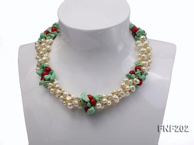 Four-strand 7-8mm White Freshwater Pearl Necklace with Turquoise Chips, Coral Beads and Golden Beads FNF202 Image 3