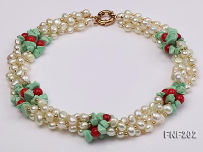 Four-strand 7-8mm White Freshwater Pearl Necklace with Turquoise Chips, Coral Beads and Golden Beads FNF202 Image 1
