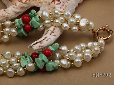 Four-strand 7-8mm White Freshwater Pearl Necklace with Turquoise Chips, Coral Beads and Golden Beads FNF202 Image 4