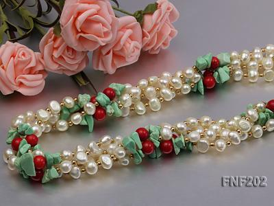 Four-strand 7-8mm White Freshwater Pearl Necklace with Turquoise Chips, Coral Beads and Golden Beads FNF202 Image 5