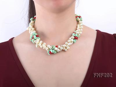 Four-strand 7-8mm White Freshwater Pearl Necklace with Turquoise Chips, Coral Beads and Golden Beads FNF202 Image 2