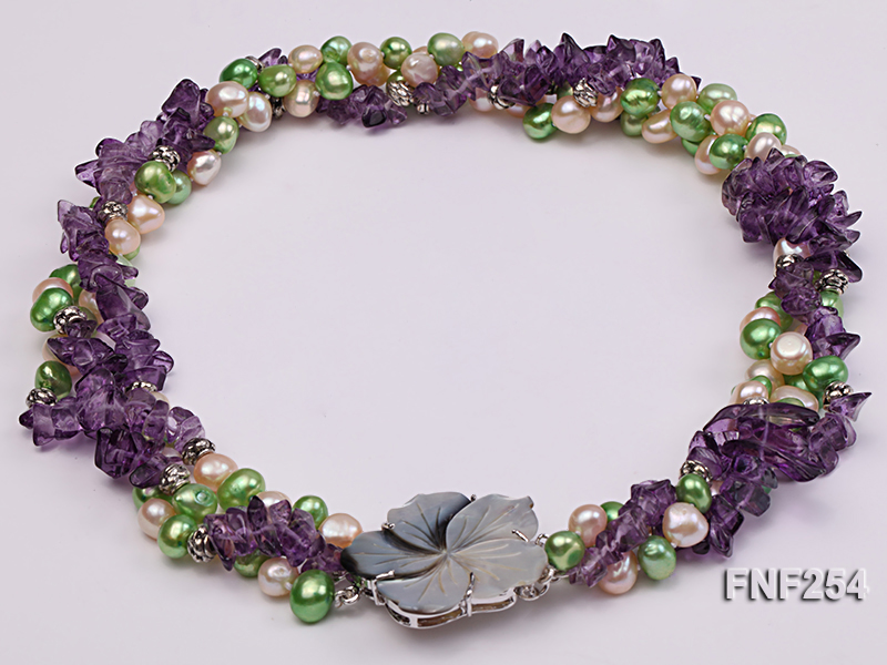 Three-strand Pink and Green Freshwater Pearl and Purple Crystal Chips Necklace big Image 3