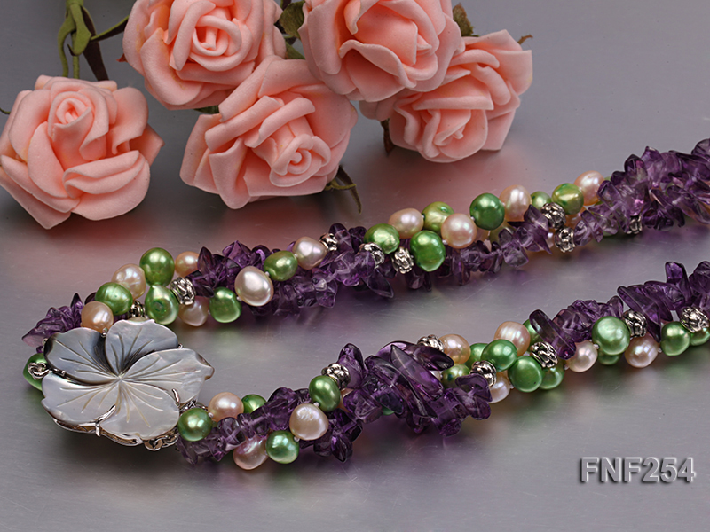 Three-strand Pink and Green Freshwater Pearl and Purple Crystal Chips Necklace big Image 5