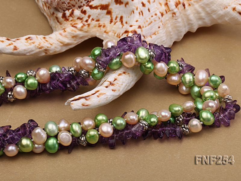 Three-strand Pink and Green Freshwater Pearl and Purple Crystal Chips Necklace big Image 6