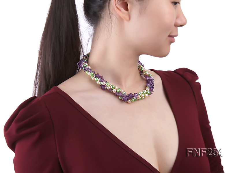 Three-strand Pink and Green Freshwater Pearl and Purple Crystal Chips Necklace big Image 7