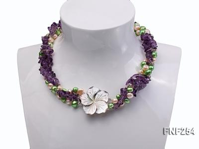 Three-strand Pink and Green Freshwater Pearl and Purple Crystal Chips Necklace FNF254 Image 1