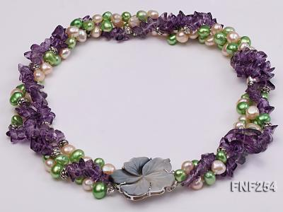 Three-strand Pink and Green Freshwater Pearl and Purple Crystal Chips Necklace FNF254 Image 3