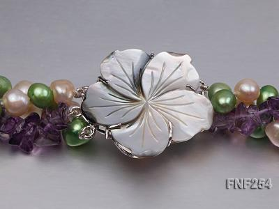 Three-strand Pink and Green Freshwater Pearl and Purple Crystal Chips Necklace FNF254 Image 4