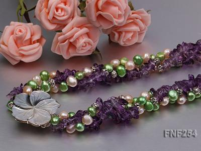 Three-strand Pink and Green Freshwater Pearl and Purple Crystal Chips Necklace FNF254 Image 5