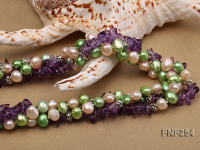 Three-strand Pink and Green Freshwater Pearl and Purple Crystal Chips Necklace FNF254 Image 6