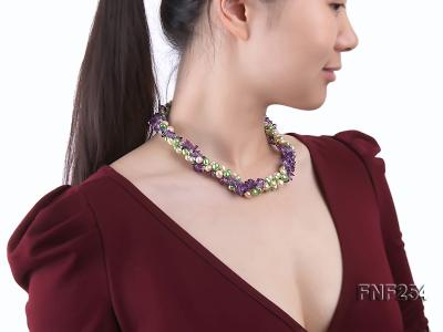Three-strand Pink and Green Freshwater Pearl and Purple Crystal Chips Necklace FNF254 Image 7