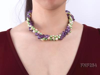 Three-strand Pink and Green Freshwater Pearl and Purple Crystal Chips Necklace FNF254 Image 2