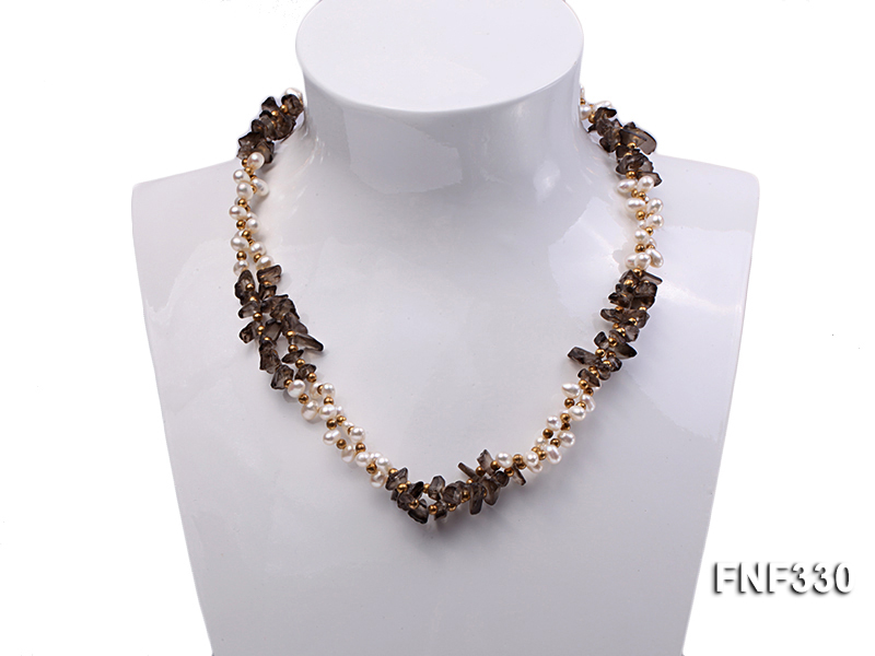 Two-strand 4-5mm White Freshwater Pearl Necklace with Coffee Crystal Chips and Golden Beads big Image 1