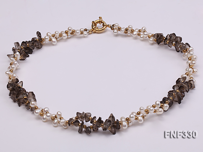Two-strand 4-5mm White Freshwater Pearl Necklace with Coffee Crystal Chips and Golden Beads big Image 4