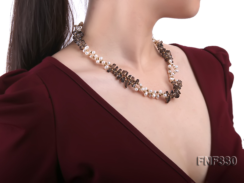 Two-strand 4-5mm White Freshwater Pearl Necklace with Coffee Crystal Chips and Golden Beads big Image 6