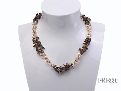 Two-strand 4-5mm White Freshwater Pearl Necklace with Coffee Crystal Chips and Golden Beads FNF330 Image 1