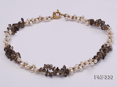 Two-strand 4-5mm White Freshwater Pearl Necklace with Coffee Crystal Chips and Golden Beads FNF330 Image 4