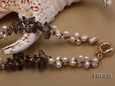 Two-strand 4-5mm White Freshwater Pearl Necklace with Coffee Crystal Chips and Golden Beads FNF330 Image 5