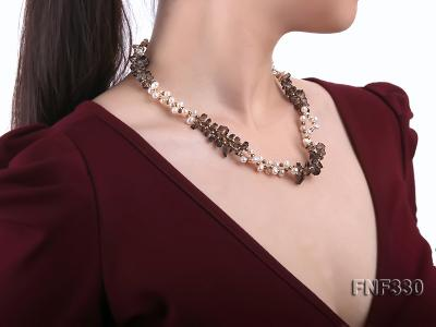 Two-strand 4-5mm White Freshwater Pearl Necklace with Coffee Crystal Chips and Golden Beads FNF330 Image 6