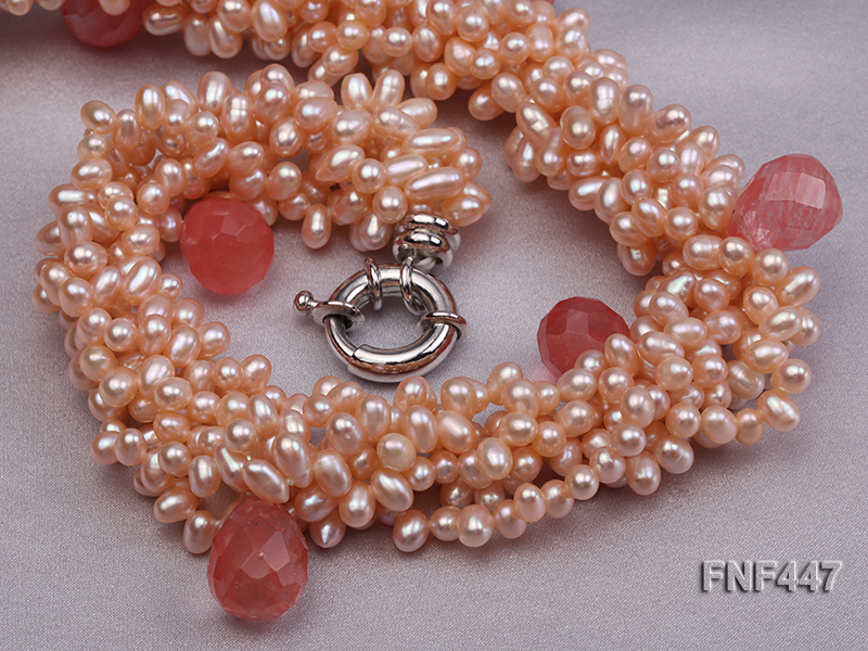 Six-strand 5-6mm Pink Freshwater Pearl Necklace with Pink Drop-shaped Crystal Beads big Image 2