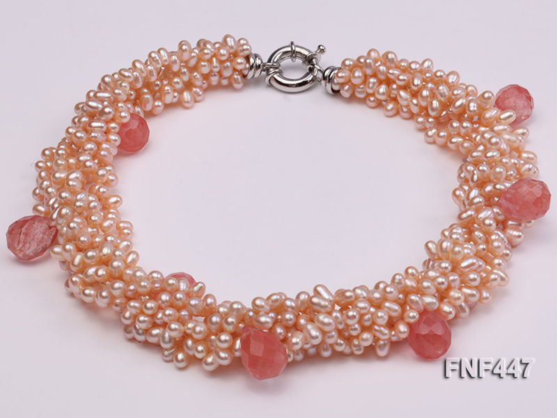 Six-strand 5-6mm Pink Freshwater Pearl Necklace with Pink Drop-shaped Crystal Beads big Image 3
