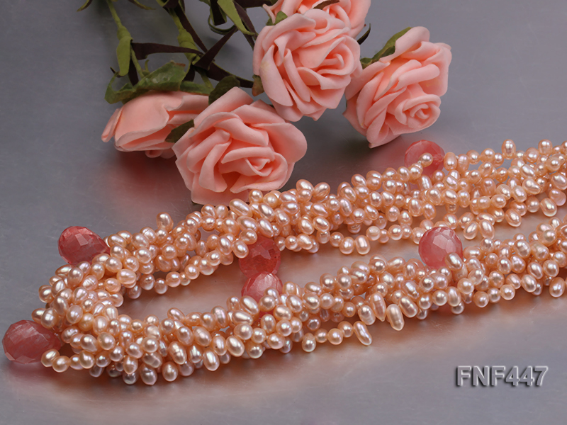 Six-strand 5-6mm Pink Freshwater Pearl Necklace with Pink Drop-shaped Crystal Beads big Image 4