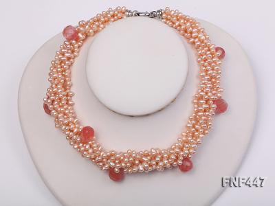 Six-strand 5-6mm Pink Freshwater Pearl Necklace with Pink Drop-shaped Crystal Beads FNF447 Image 1