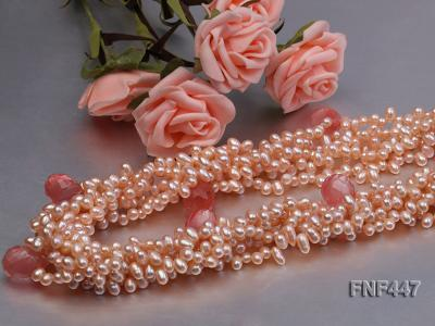 Six-strand 5-6mm Pink Freshwater Pearl Necklace with Pink Drop-shaped Crystal Beads FNF447 Image 4
