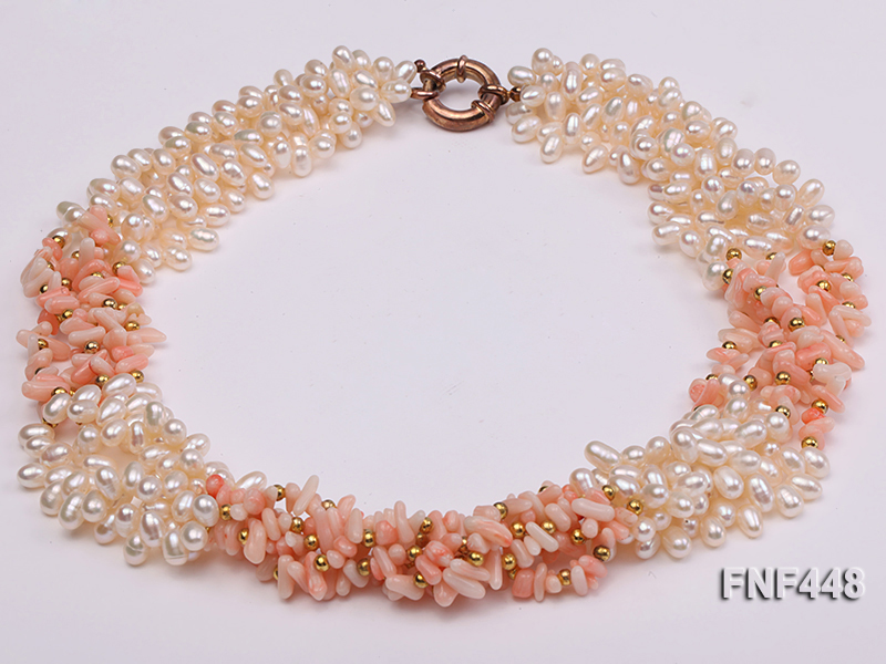Five-strand 5-6mm White Freshwater Pearl and Pink Coral Chips Necklace big Image 2