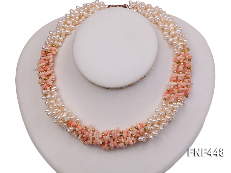 Five-strand 5-6mm White Freshwater Pearl and Pink Coral Chips Necklace big Image 3