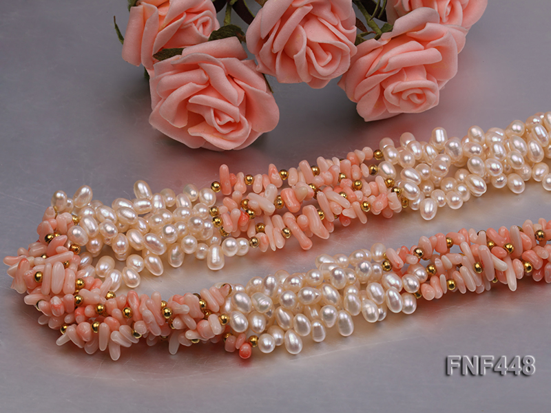 Five-strand 5-6mm White Freshwater Pearl and Pink Coral Chips Necklace big Image 4