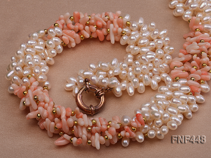 Five-strand 5-6mm White Freshwater Pearl and Pink Coral Chips Necklace big Image 5