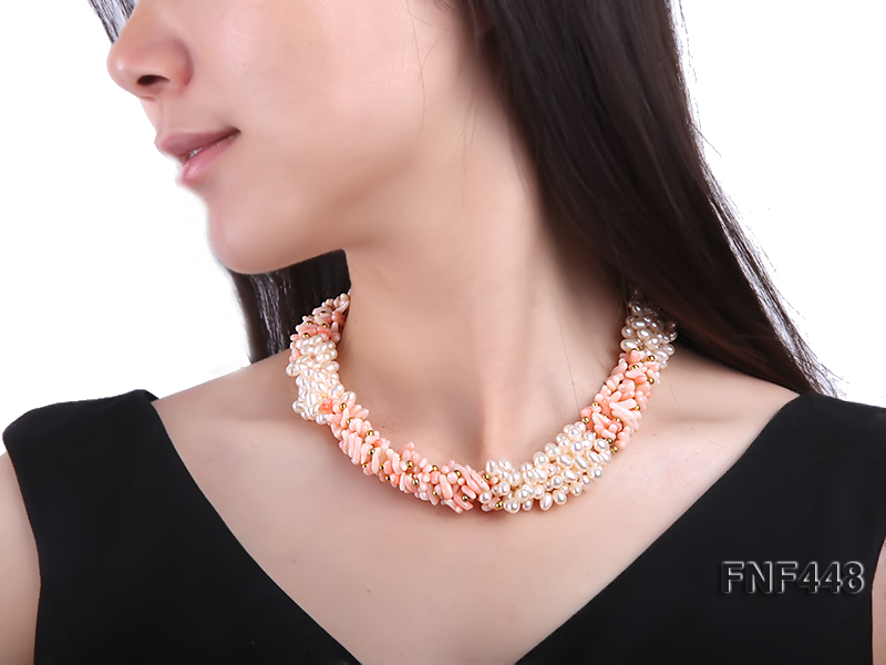 Five-strand 5-6mm White Freshwater Pearl and Pink Coral Chips Necklace big Image 6