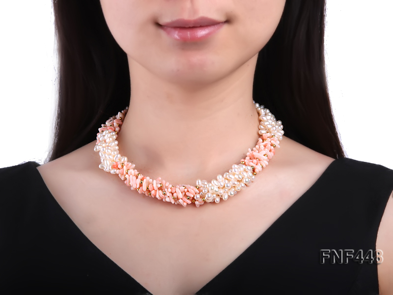 Five-strand 5-6mm White Freshwater Pearl and Pink Coral Chips Necklace big Image 1