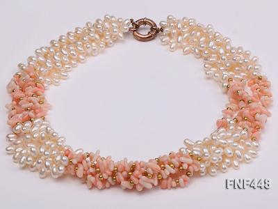 Five-strand 5-6mm White Freshwater Pearl and Pink Coral Chips Necklace FNF448 Image 2