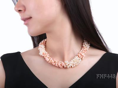 Five-strand 5-6mm White Freshwater Pearl and Pink Coral Chips Necklace FNF448 Image 6