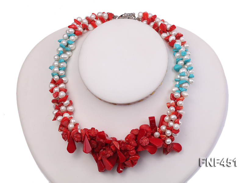 Three-strand 6-7mm White Freshwater Pearl Necklace with Turquoise Chips and Red Coral big Image 1