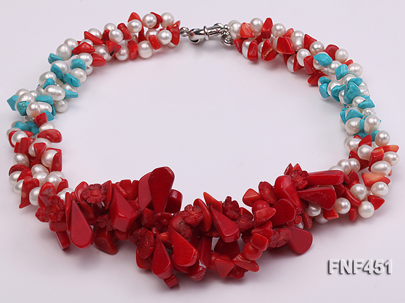 Three-strand 6-7mm White Freshwater Pearl Necklace with Turquoise Chips and Red Coral big Image 2