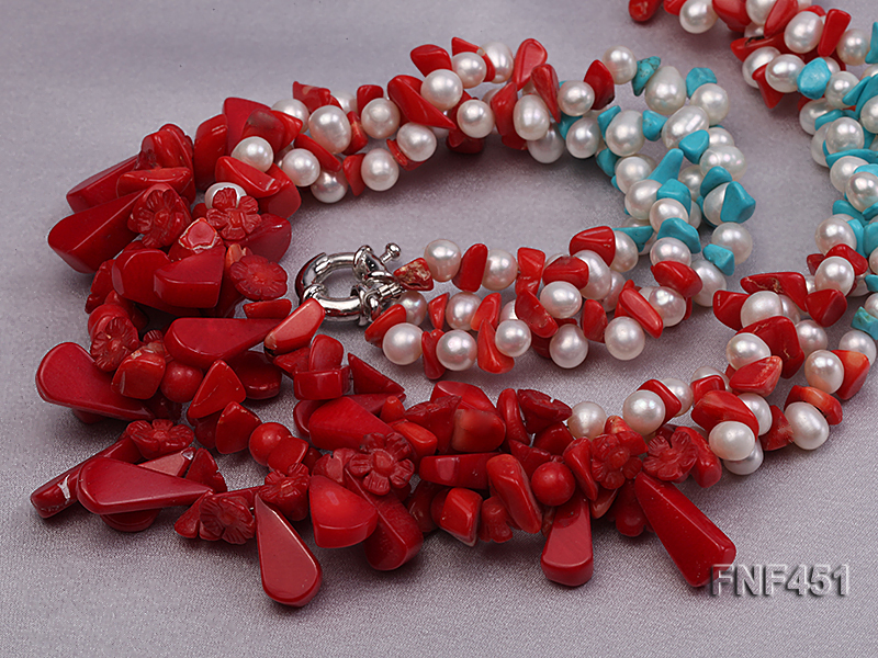 Three-strand 6-7mm White Freshwater Pearl Necklace with Turquoise Chips and Red Coral big Image 3