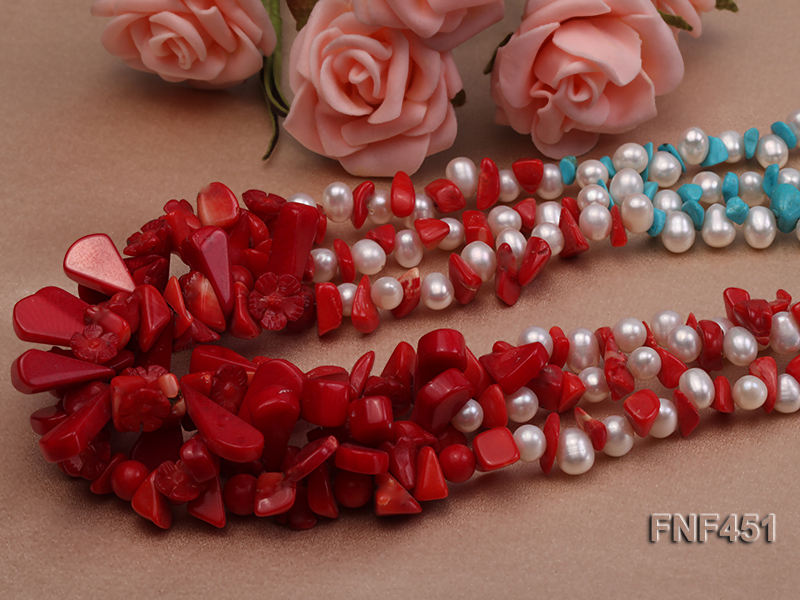 Three-strand 6-7mm White Freshwater Pearl Necklace with Turquoise Chips and Red Coral big Image 4