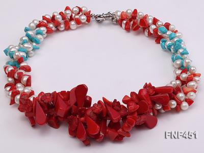 Three-strand 6-7mm White Freshwater Pearl Necklace with Turquoise Chips and Red Coral FNF451 Image 2