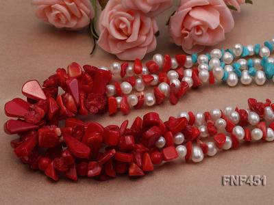 Three-strand 6-7mm White Freshwater Pearl Necklace with Turquoise Chips and Red Coral FNF451 Image 4