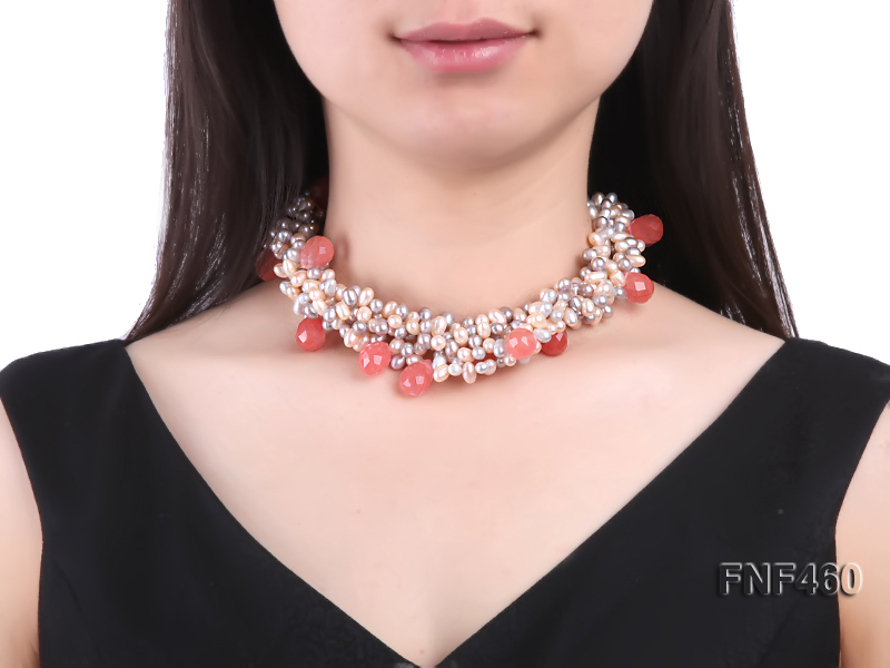 Five-strand 6-7mm Pink and Gray Freshwater Pearl Necklace with Pink Faceted Crystal Beads big Image 2