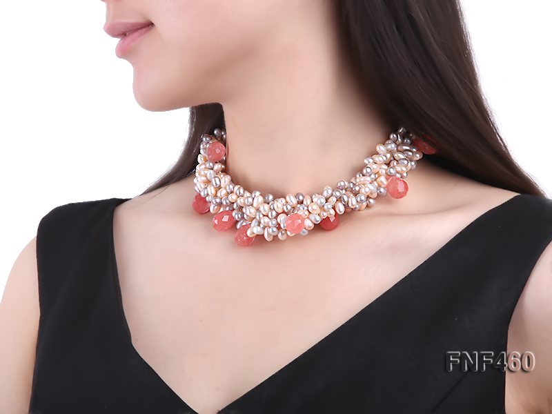 Five-strand 6-7mm Pink and Gray Freshwater Pearl Necklace with Pink Faceted Crystal Beads big Image 6