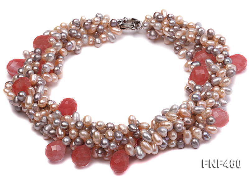 Five-strand 6-7mm Pink and Gray Freshwater Pearl Necklace with Pink Faceted Crystal Beads big Image 1