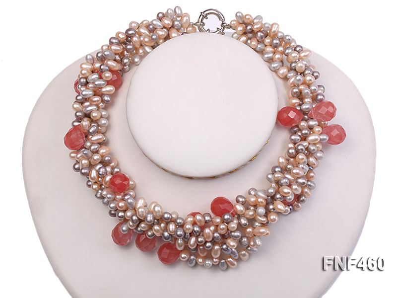 Five-strand 6-7mm Pink and Gray Freshwater Pearl Necklace with Pink Faceted Crystal Beads big Image 4